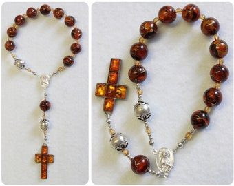 Catholic Travel Rosary Chaplet Vintage Cognac Baltic Amber and Sterling Silver