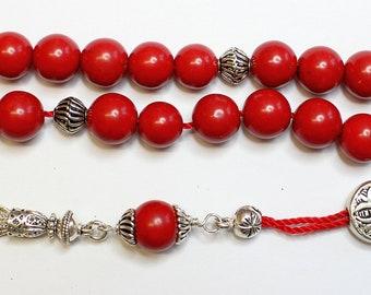 Greek Komboloi Red Coral & Sterling Silver