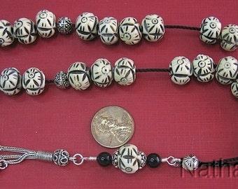 Greek Komboloi Worry Beads Carverd Antique Tibet Yak Bone  & Sterling Silver