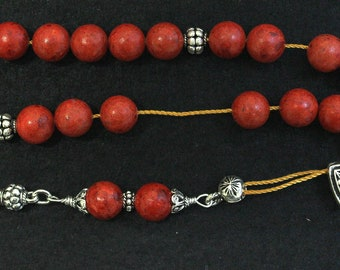 Worry Beads Greek Komboloi Red Sponge Coral & Sterling Silver