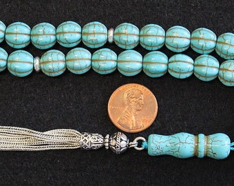 Tesbih Prayer Worry Beads Carved Dragon Turquoise and Sterling Silver