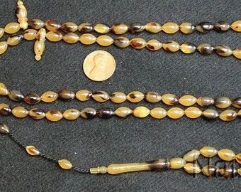 Islamic Prayer Beads Tesbih Faux Tortoise Vintage Galalith 99 Beads -Rare Collector's - Promotional offer