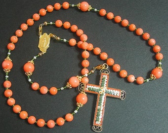 Wearable Catholic Rosary Salmon Coral Vermeil Micro Mosaic Cross - Exquisite - Rare