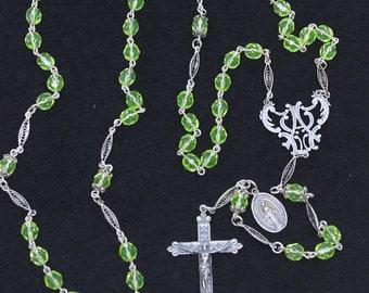 Vintage Uranium Vaseline Faceted Glass and Sterling Catholic Rosary Special & V. Rare.