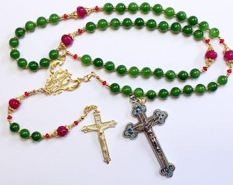 Catholic Rosary Emerald, Vermeil & Micro Mosaic, Wearable, 9 Uses, 2 crosses – RARE - UNIQUE