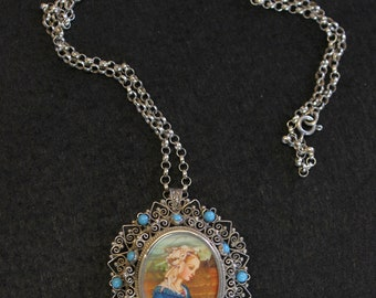 High Detail Miniature in 1950's Filigree w Turquoise Setting Dual Use Brooch & Pendant w Chain