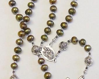 Catholic Rosay Prayer Beads Golden Teal Fresh Water Pearls