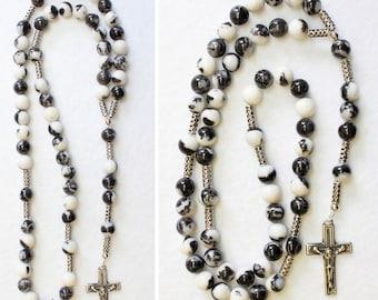Catholic Rosary Prayer Beads Zebra Jade  and Heavy Sterling Silver