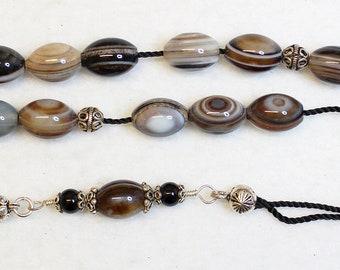 Greek Komboloi  Botswana Agate & Sterling Silver Worry Beads