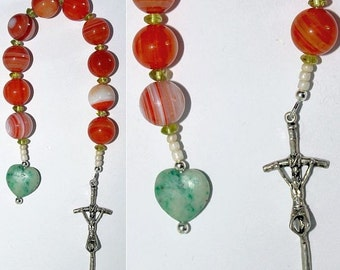 Catholic Open Chaplet -One Decade Rosary-  Banded Agate, Peridot & Sterling Silver