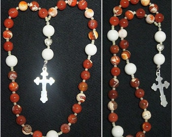 Anglican Episcopal Rosary Prayer Beads : Red Fire Crackled Agate White Jade and Sterling Silver