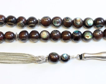 Tesbih Prayer Worry Beads Ebony Inlaid with Paua Shell - Sterling Silver - Unique Collector's XXR