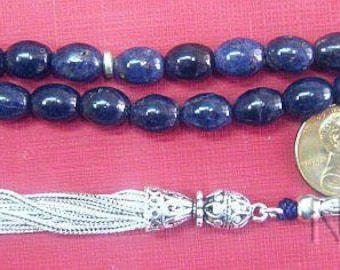Luxury Prayer Beads Tesbih Gebetskette Ceylon Sapphires and Sterling Silver Rare Oval Cut _ Collector's