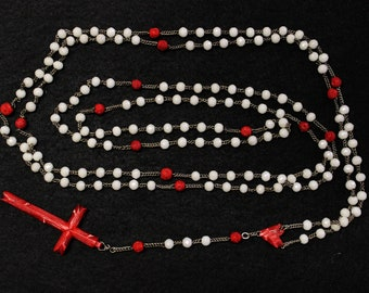 1920's Catholic Rosary 15 Decades Opaline Glass and Bone w Silver - Rare