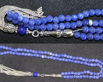Islamic Prayer Beads Tesbih Gebetskette Genuine Sapphire and Sterling -99 Beads
