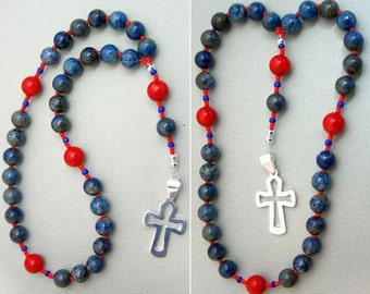 Anglican Episcopal Rosary Prayer Beads : Denim Lapis, Coral and Sterling Silver