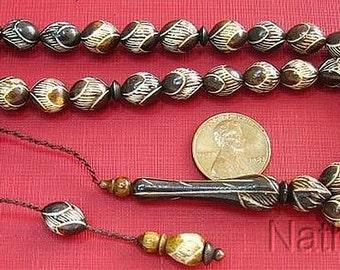 Vintage Prayer Beads Tesbih Gebetskette Camel Bone Oval Fine Ottoman Carving