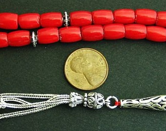 Luxury Prayer Worry Beads Tesbih RED CORAL Barrel Beads and Sterling Silver -