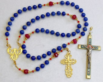 Catholic Rosary Sapphire, Vermeil & Micro Mosaic, Wearable, 9 Uses, 2 crosses – RARE - UNIQUE