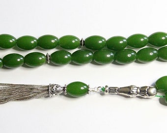 Luxury Prayer Worry Beads Tesbih Komboloi Genuine Oval Emeralds & Stering Silver - Top Quality - Collector's