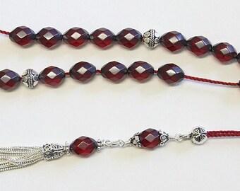 Greek Komboloi Rare Diamond 1930's Cherry Bakelite & Sterling Silver- TESTED XXR