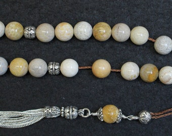 Greek Komboloi Worry Beads Fossil Coral & Sterling - Rarely Seen - Collector's item