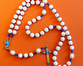 Catholic Rosary White Jade and Vermeil With Blue Enameled Exceptional Vintage Cross & Center