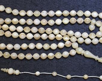 Islam Prayer Beads Tesbih Wild Goat Horn 99 Beads Gebetskette Exceptional Carving - High Rarity