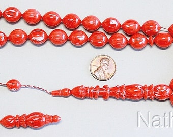 Prayer Beads Tesbih Gebetskette Red and White Vintage Galalith  -Unique - XXR - Exceptional Collector's