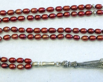 Islamic Prayer Beads Cherry Copper Genuine Pearl Beads & Sterling Silver