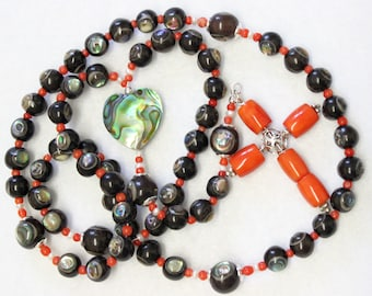 Catholic Rosary Ebony, Paua Shell, Coral and Sterling All Hand Made Unique