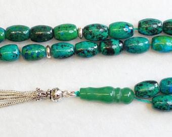 Prayer Beads Tesbih Gebetskette OVAL CHRISOCOLLA  & Sterling Silver