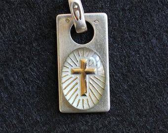 Religious Medal Pendant Enameled Golden Cross in Sterling Silver Frame - Rare