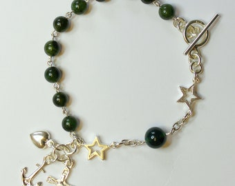 Catholic Rosary Bracelet Green Jade and Sterling Silver