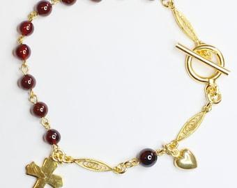 Catholic Rosary Bracelet Garnet and Vermeil Filigree