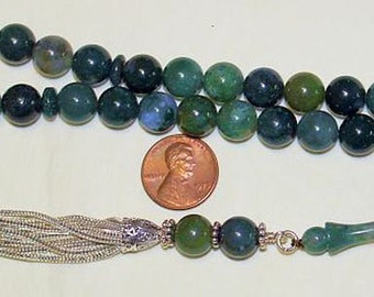 Luxury Prayer Beads Tesbih AA Grade Moss Agate and Sterling Silver - Top Quality - Collector's