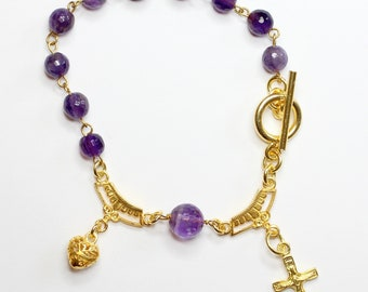 Catholic Rosary Bracelet Faceted Amethyst and Vermeil