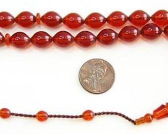 Prayer Worry  Beads Tesbih Cognac Color  Turkish Amber Catalin - SUFI CARVING - COLLECTOR'S