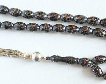 Tesbih Prayer Beads Gebetskette Huge Yusr - Black Coral - with 12500 sterling studs - Rare  - Collector's