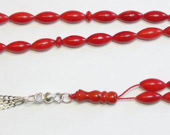 Prayer Beads Tesbih Gebetskette Red Coral & Sterling Pine Seed Carve