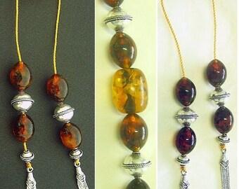 Begleri Mini Konmboloi Genuine Amber and Sterling Silver - Special Design