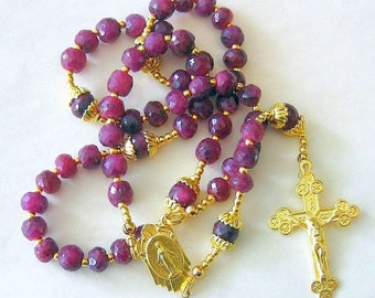 Catholic Rosary Genuine Faceted Ruby And Vermeil