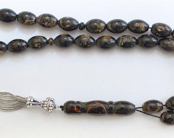 Prayer Beads Tesbih Oval V.Rare Golden Yusr & Sterling - Great Collector's item