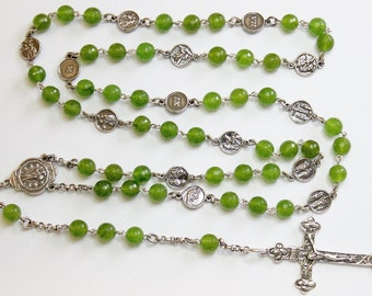 Faceted Jade & Sterling Silver Stations Of The Cross Rosary All Vintage - Unique Rare