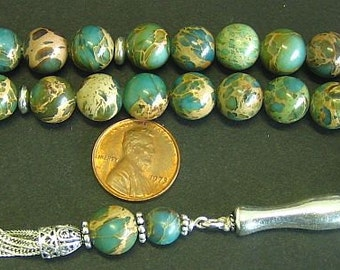 Prayer Beads Tesbih AA Grade Variscite & Sterling Silver -Top quality - Luxury Collector's item