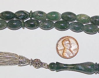 Luxury Prayer Beads Tesbih AA Oval Moss Agate and Sterling Silver - Top Quality - Collector's