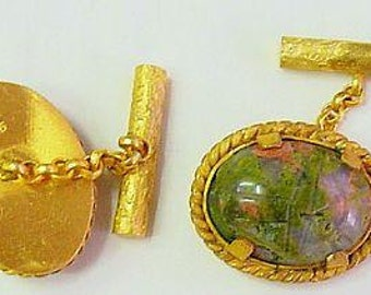 Vermeil & Unakite Scarab Cufflinks  by The Swan Collection