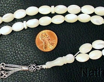 Prayer Beads Tesbih Gebetskette  Mother of Pearl & Sterling Silver