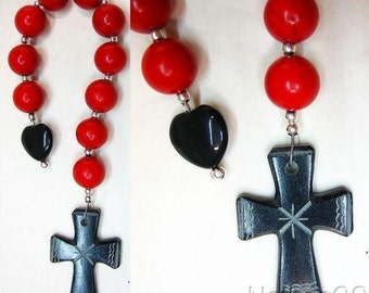 Catholic Open Chaplet Red Coral, Black Serpentine and Sterling Silver