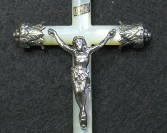 1900/1910  French Mother of Pearl and Sterling Silver Cross - Crucifix